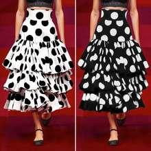 VONDA-faldas plisadas con dibujo de lunares para mujer, faldas a la moda, de cintura alta, en capas largas, para fiestas y vacaciones, S-5XL, 2021