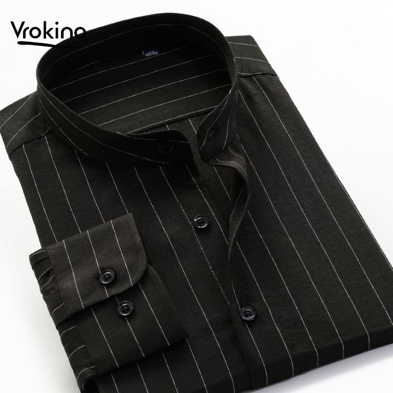 2020 9XL 10XL Men's Stand Collar Striped Long Sleeve Shirt Classic High Quality Shirt Loose Chinese Style Top Brand Clothin