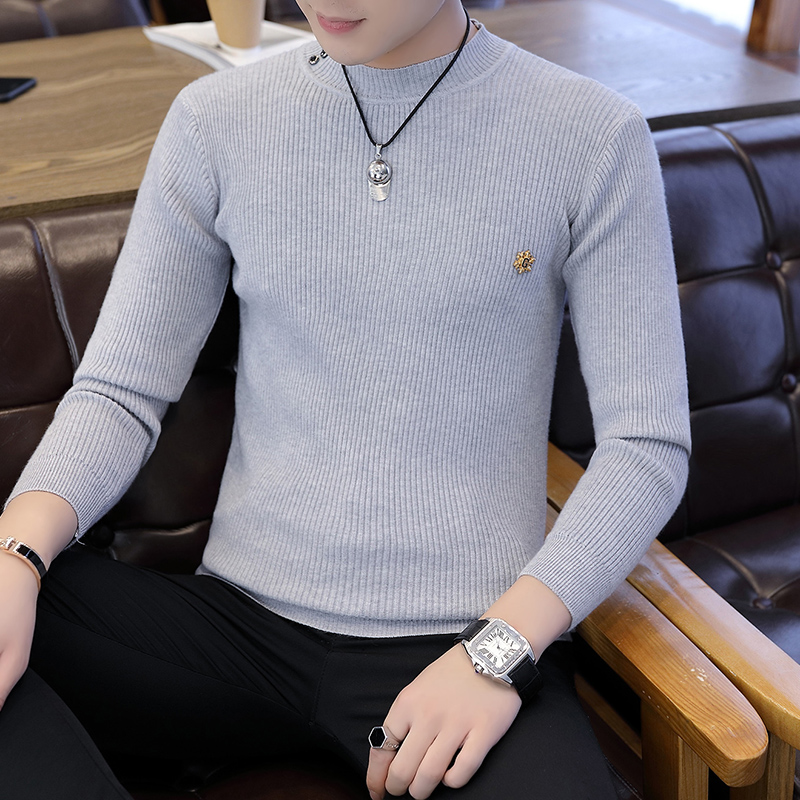 Men Sweater O-Neck Mens Pullover Sweater Male Coat Solid Color Man Sweaters Pull Clothes Long Sleeve Homme Shirt Badge K268