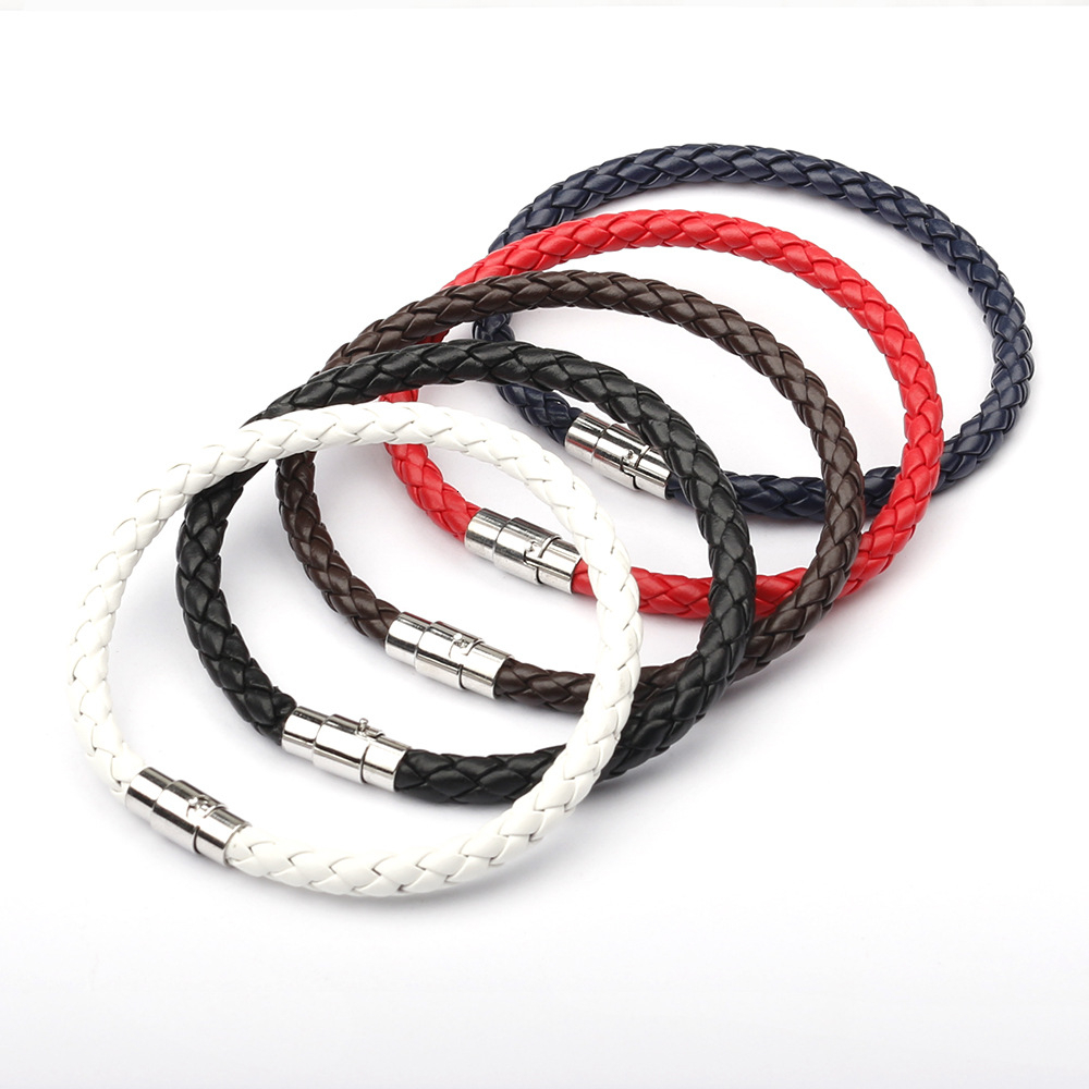 Charm Bracelet Leather Braided Alloy Magnetic Clasps Bracelets For Women Men Couple Fashion Braclet Armband Jewelry Gifts
