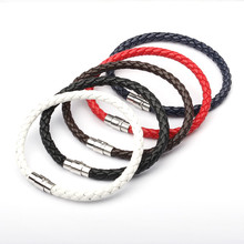 Charm Bracelet Leather Braided Alloy Magnetic Clasps Bracelets For Women Men Couple Fashion Braclet Armband Jewelry Gifts(China)