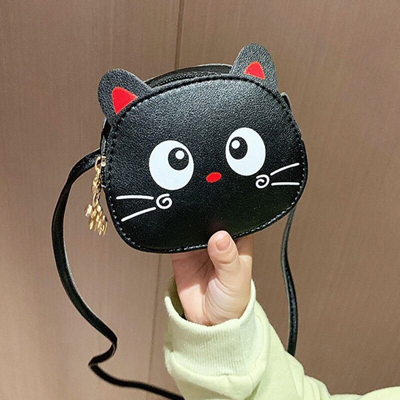 Lovely Cat Children's Crossbody Bag Soft Leather Little Girl Small Zipper Shoulder Bag For Kids Gifts Cartoon Women's Coin Purse