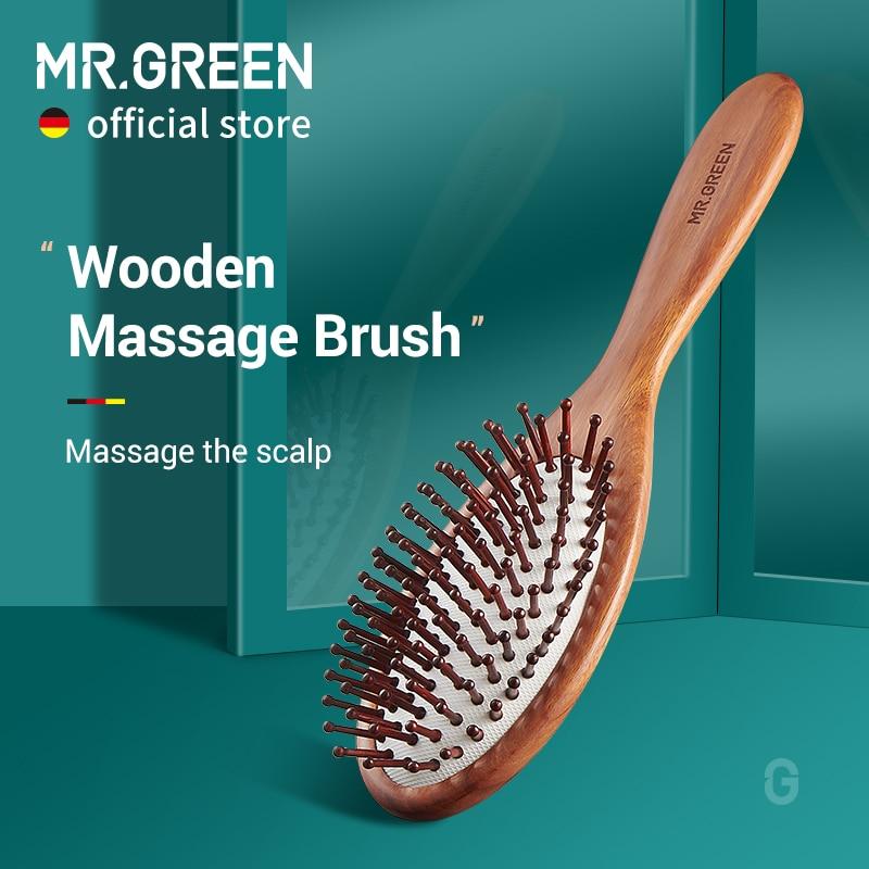 MR.GREEN щетка для волос натуральная деревянная Антистатическая Расческа для удаления волос Массажная Расческа для кожи головы с воздушной по...