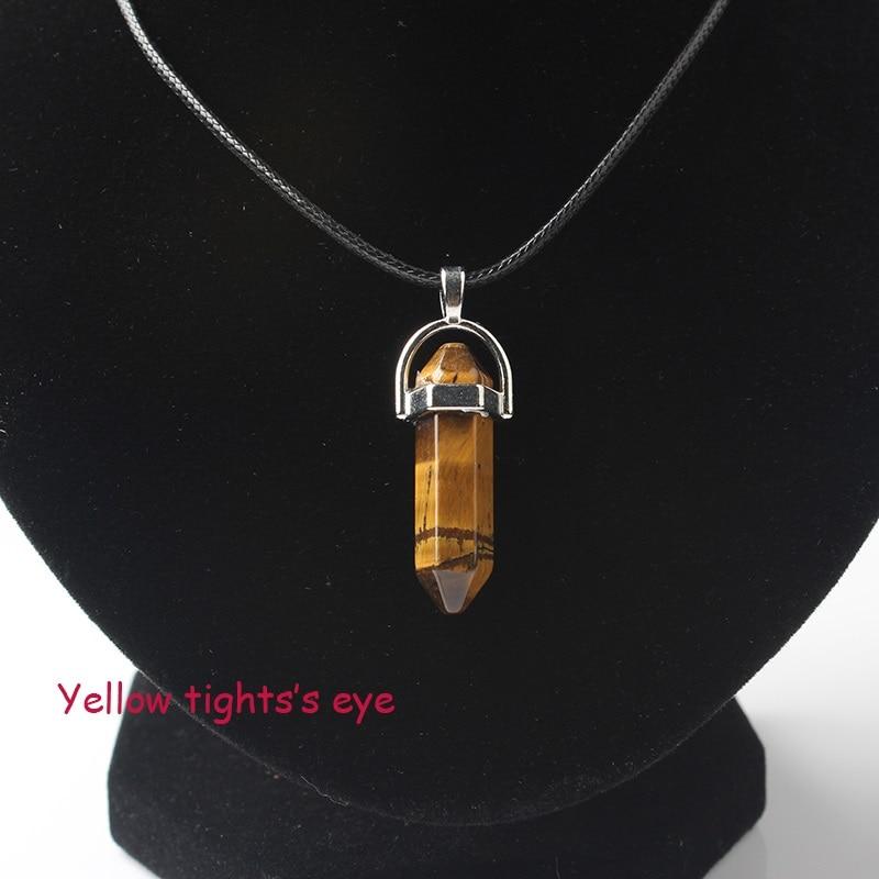 LanLi, шестиугольная колонна, ожерелье с натуральным кристаллом, подвеска с камнем, кожаные цепи, ожерелье для женщин, модное ювелирное изделие - Окраска металла: huang hu yang