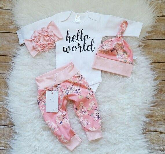 Pelele de Hello World para niña recién nacida UK 4 Uds., conjunto de ropa de 0 a 24M Mono sin mangas para niño recién nacido, sin mangas, con motivos florales, ropa para niña bebé