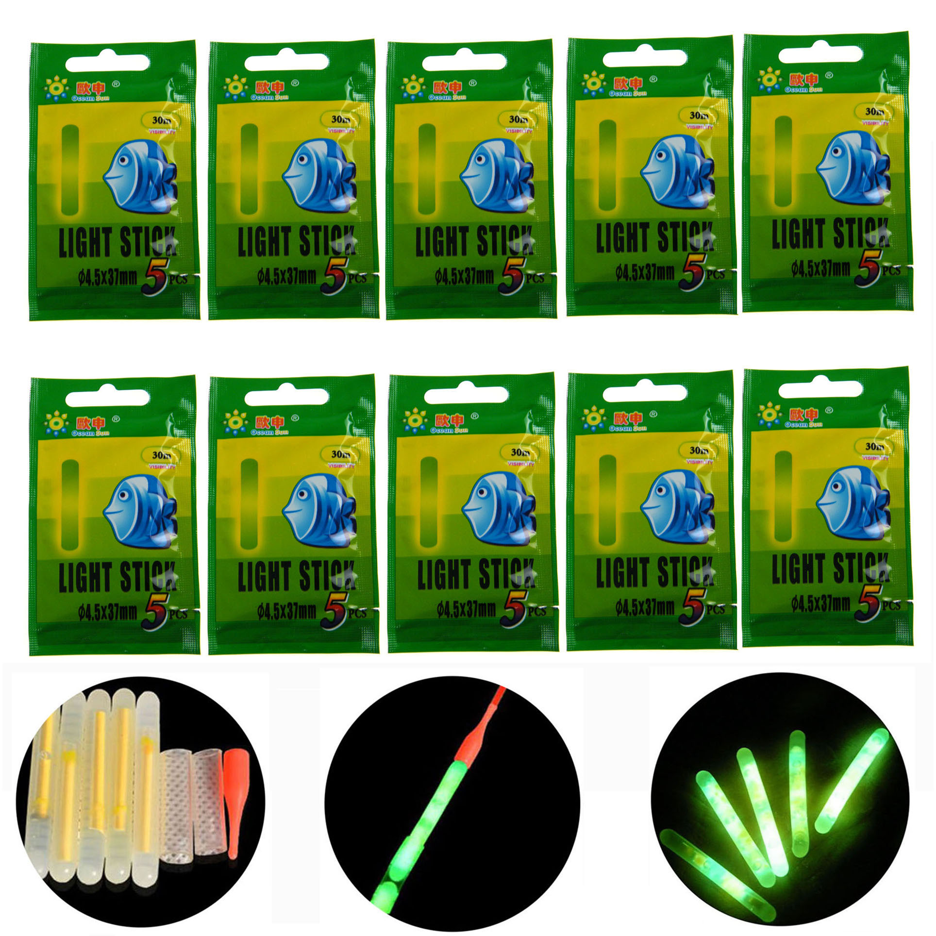 10 packs Dia:6.0X50MM 4.5*37MM 7.5*75MM Night Fishing Float Glow Lighting Stick Wand Green chemical glow stick For fishing float