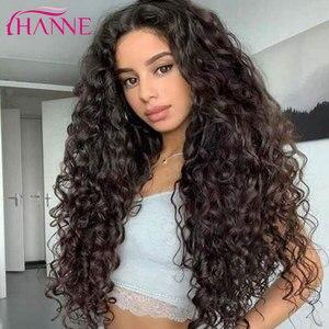 Image 2 - Perucas de cabelo resistentes ao calor naturais da onda profunda de brown escuro perucas onduladas longas da peruca sintética de hanne para preto/branco