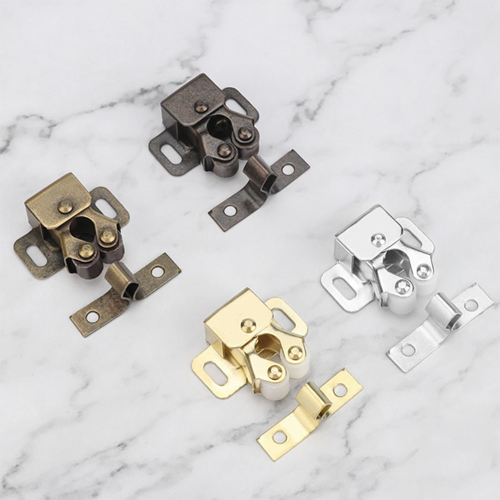 Cabinet Prong Doors Latch Hardware Tool Closer Bronze Double Roller Catch Latch Locks Double Ball Roller Catches Cupboard 1Pcs