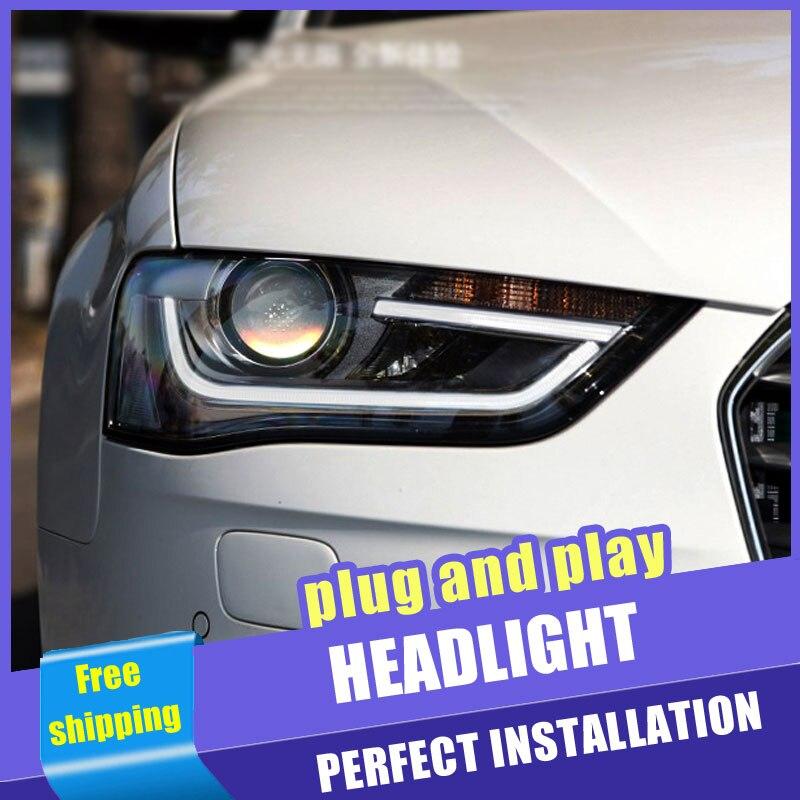 2 pièces voiture Style LED phares pour Audi A4 2013-2016 pour A4L lampe frontale LED DRL lentille Double faisceau H7 caché xénon bi xénon lentille