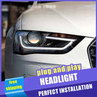 2PCS Auto Stil LED scheinwerfer für Audi A4 2013-2016 für A4L scheinwerfer LED DRL Objektiv Doppel Strahl h7 HID-Xenon-bi-xenon-objektiv