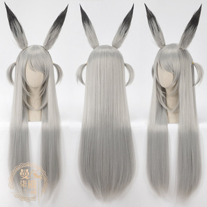 Image 3 - DIOCOS Arknights AMIYA Siege Jetfire Silver Grey Cosplay Wigs Heat Resistant Synthetic Wig for Halloween Party