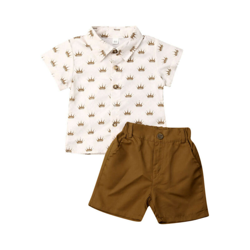 Summer Toddler Baby Boys Gentleman Clothes Crown Print Shirt Tops+Shorts 2pcs Outfits Set Sunsuit for 1-6T Dropshipping image