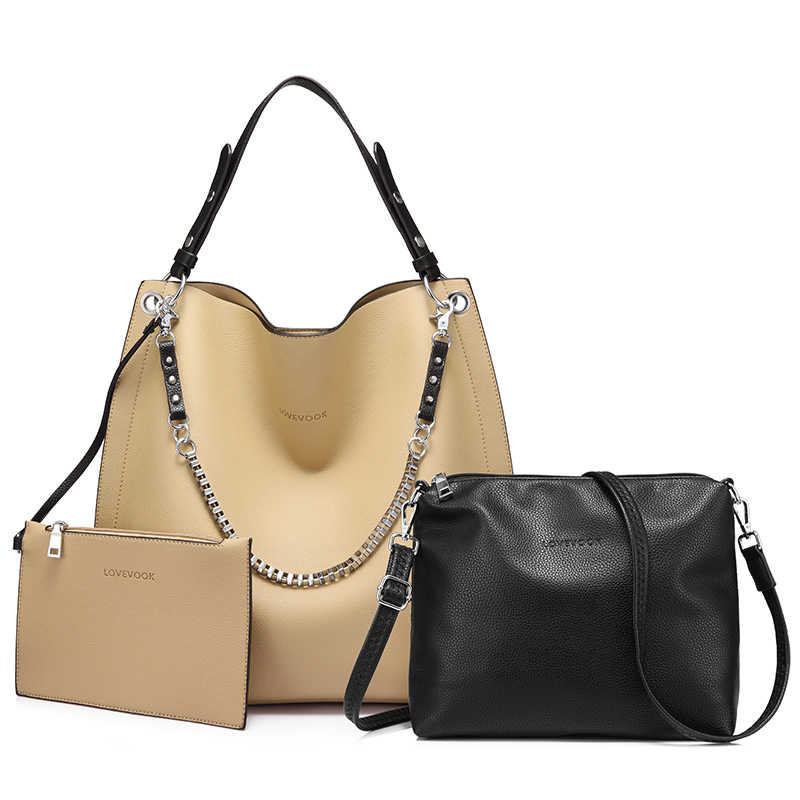 Lovevook バッグセット女性ハンドバッグ大トートショルダークロスボディバッグとソフト人工皮革の女性メッセンジャーバッグ小さな財布