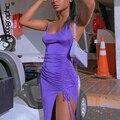 Cryptographic/летнее сексуальное платье миди с разрезом и открытой спиной, Клубные вечерние платья, элегантное платье с лямкой на шее без рукавов, ...