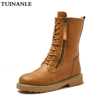 TUINANLE  Women Boots Mid-Calf Soft Leather Botas Mujer Quality Rubber Winter Shoes Woman Warm Snow Boots Botas Mujer Invierno asumer new arrive youth fashion height increasing mid calf boots for women high quality pu soft leather winter warm snow boots