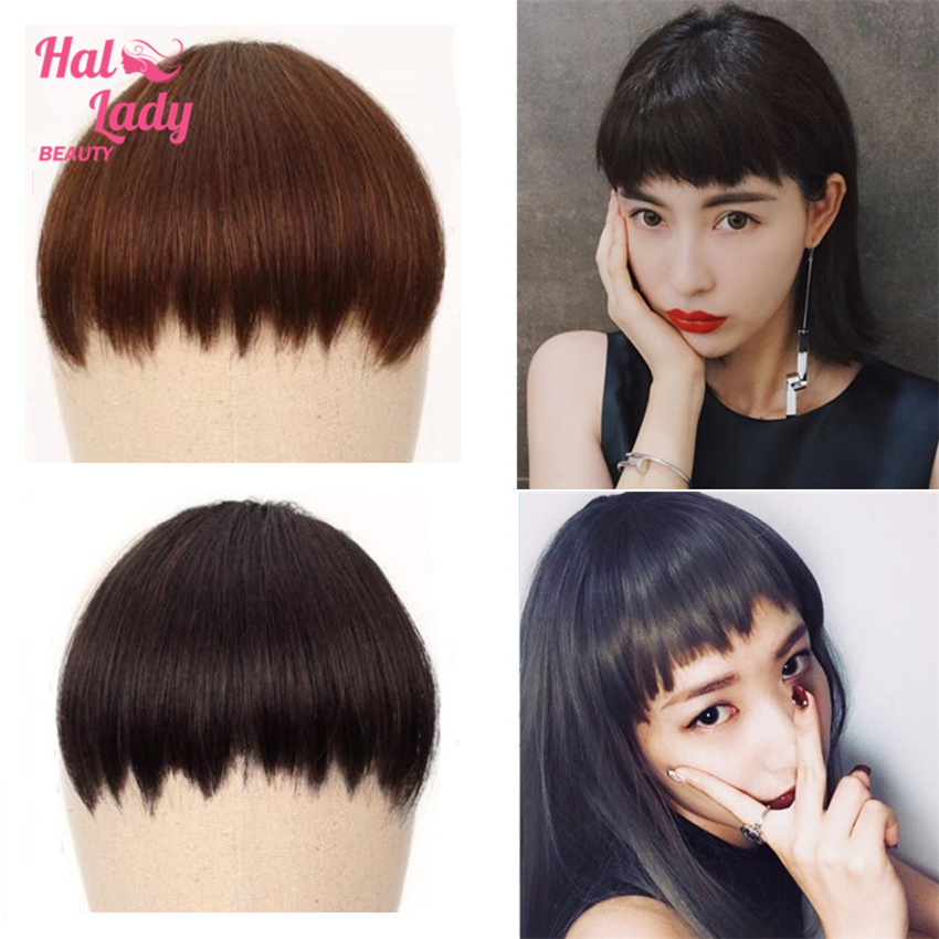 Halo Lady Beauty Pixie Human Bangs Hair One-Piece Crown Hair Clip In Hair Pieces Above Eyebrow Fringe Hair Barzilian Non-remy