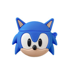 For AirPods 1 2 3D Anime Sonic Earphone Case For AirPods Pro Bluetooth Headset Cartoon The Hedgehog Silicone Cover with Hook(China)