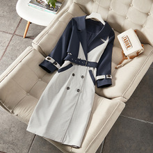 2019 Modis Autumn Winter Women's Europe Contrast Casual Windbreaker Female Large Size Double Button