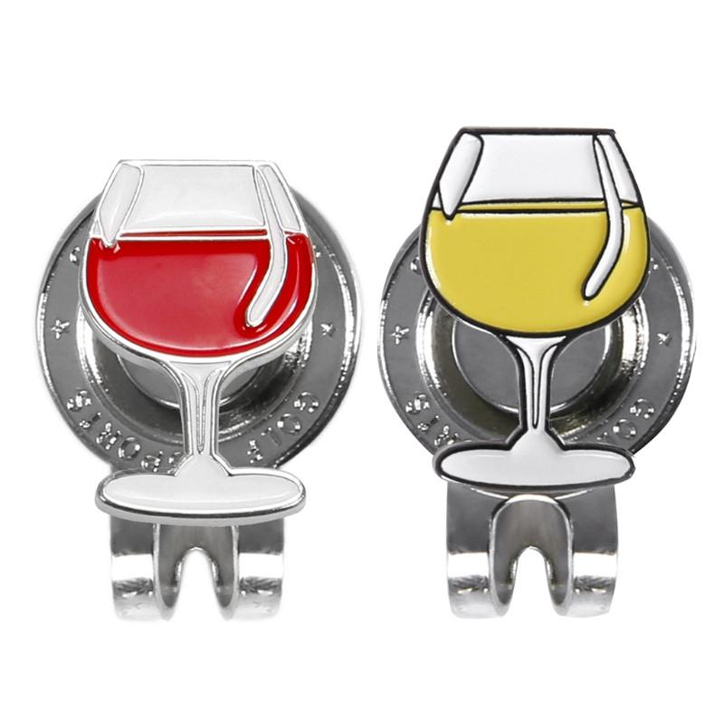 Golf Ball Markers Golf Hat Clip Magnetic Sign Aiming Wine Glass Goblets Pattern Colf Cap Clips On For Outdoor Golf Sports