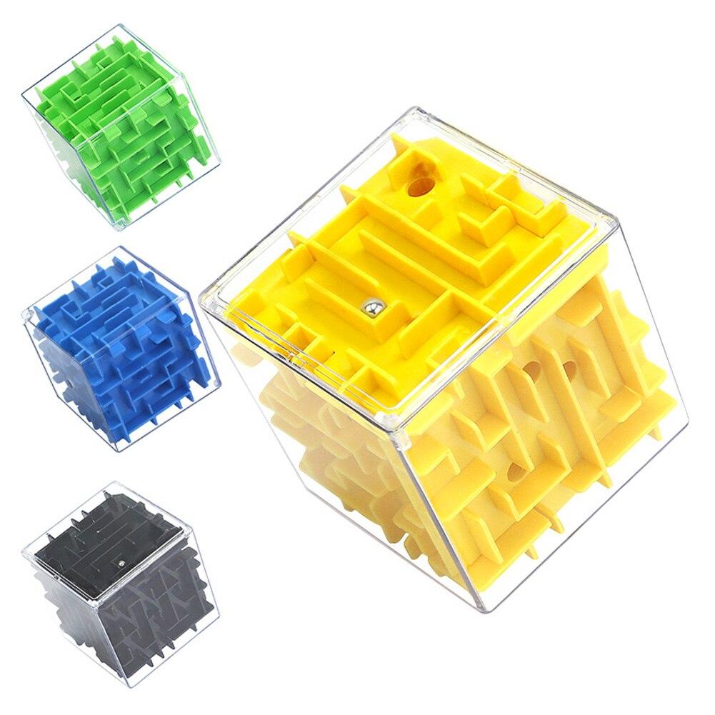 3D 미로 매직 큐브 롤링 볼 게임 육면체 퍼즐 큐브 장난감 교육 학습 학습 장난감 어린이 선물 (무작위)