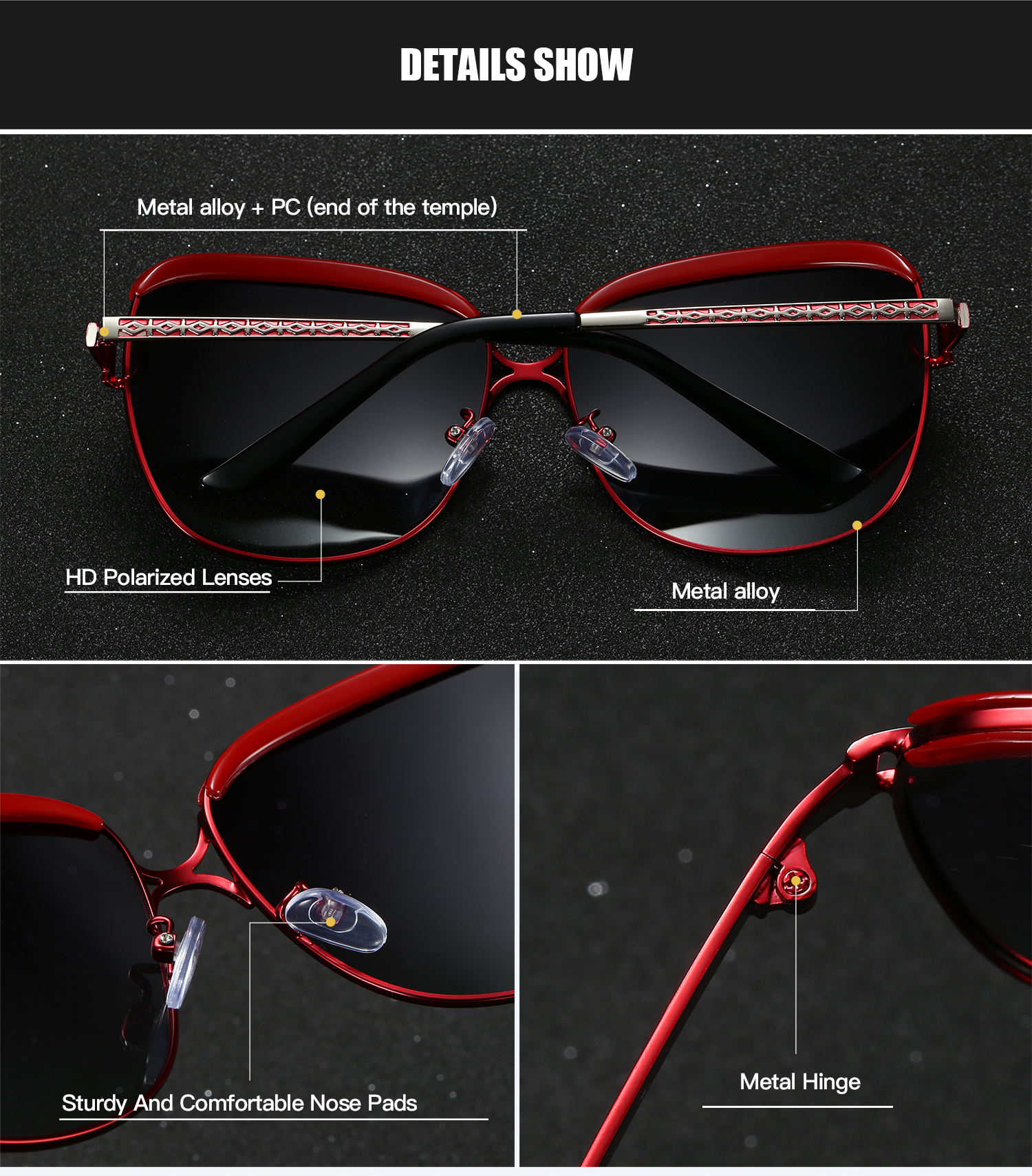RoyalHot Women Polarized Sunglasses Oversized Vintage Aloly Frame Driving Sun Glasses Shades Oculos masculino Male 60012 in Women 39 s Sunglasses from Apparel Accessories