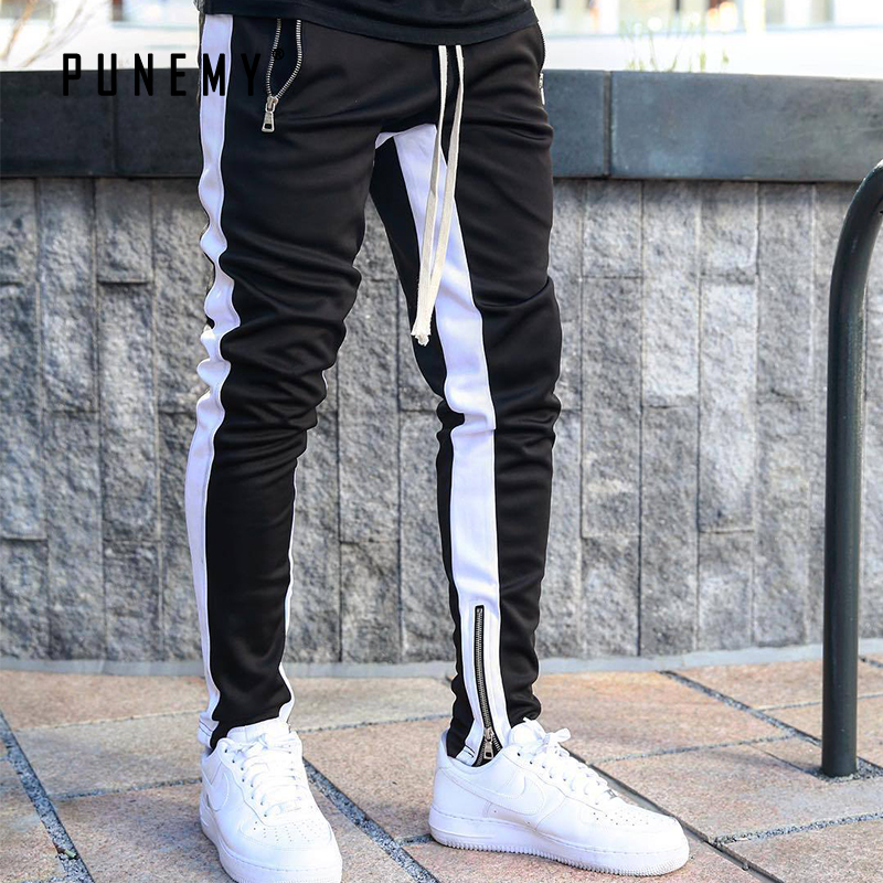 PUNEMY 2019 Fashion Side Stripe Letter Printing Hop Men's Trousers Pants Lace Up Joggers Pants Loose Streetwear Men Sweatpants