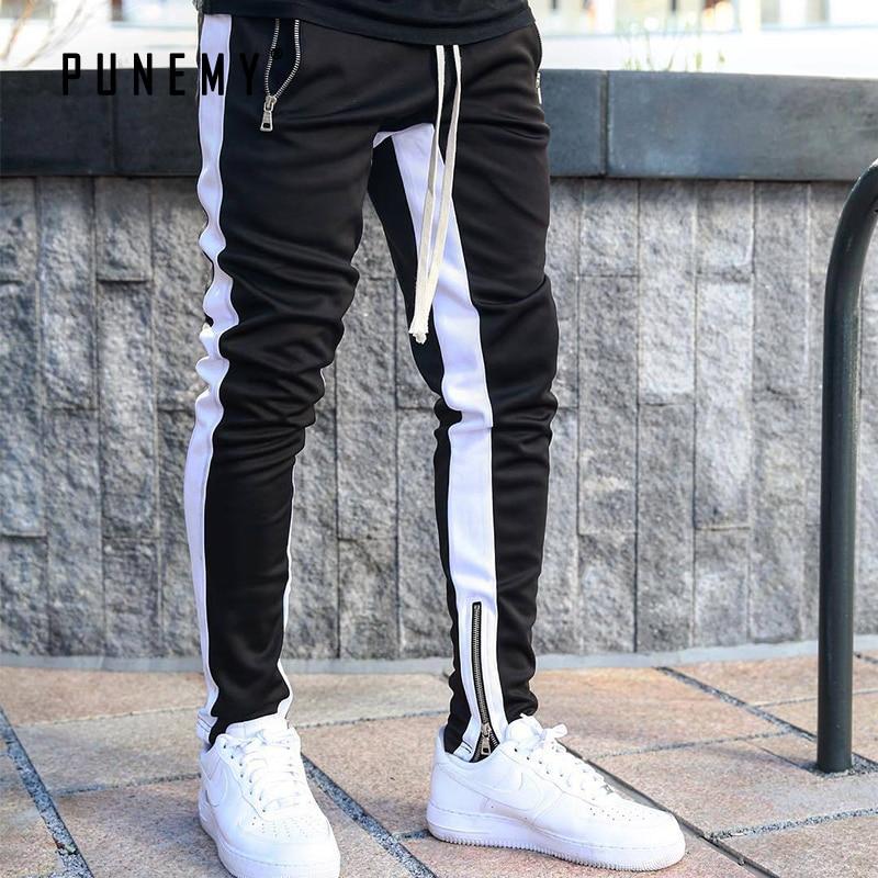 PUNEMY 2019 Fashion Side Stripe Letter Printing Hop Men's Trousers Pants Lace Up Joggers Pants Loose Streetwear Men Sweatpants