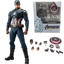 2019 SHF Avengers 4 Endgame Marvel Legends Captain America Black Widow Thanos Iron Spider Man Star Load Huk Action Figure Toy