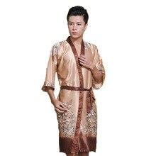 Новинка Мужской Шелковый банный халат-кимоно китайский мужской ночной костюм из вискозы унисекс с v-образным вырезом пижамы 011301