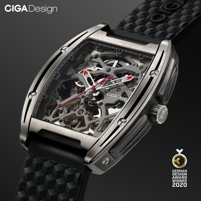 Ciga Ontwerp Horloge Titanium Case Automatische Mechanische Horloge Silicone Band Uurwerk (Met Een Lederen Band Voor Gratis)