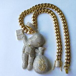 Image 5 - Tamanho grande de alta qualidade de bronze cz pedras dos desenhos animados dinheiro colar pingente hip hop jóias bling gelado cn044b