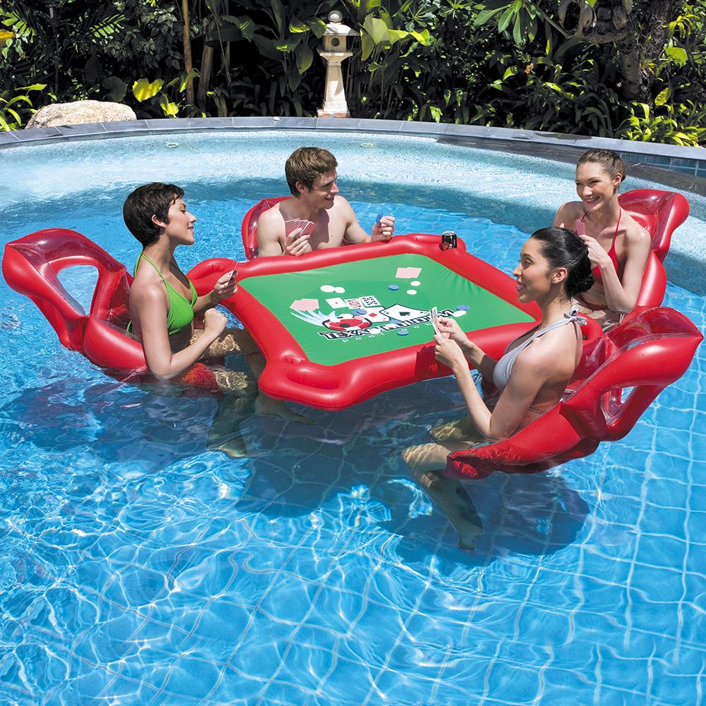 Pool Water Table Games Table Toys Inflatable Floating Drainage Water Park Games Table And Chairs Nflatable Seat Table