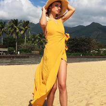 Spring and summer new style V-neck open back dress Slim-fit bow tie dress Bohemian seaside holiday dress недорого