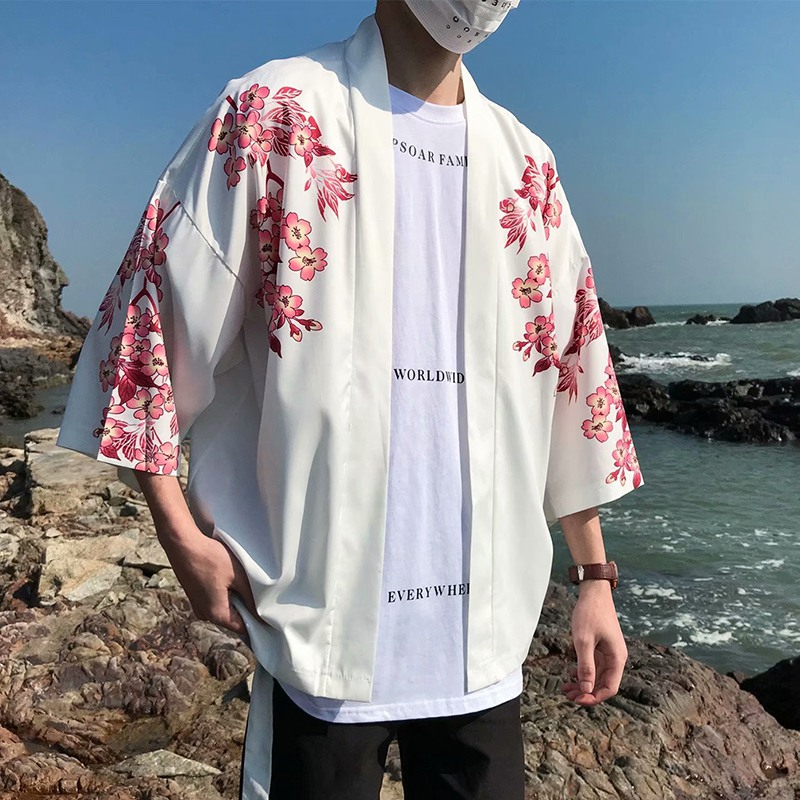 Domple Mens Top Open Front 3//4 Sleeve Solid Color Chinese Style Kimono Shirt