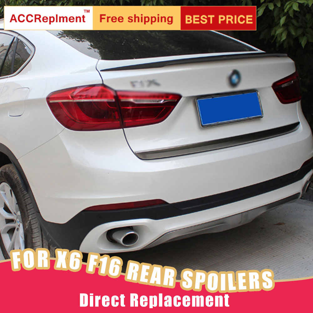 Achterspoilers Montage Voor Bmw X6 F16 2015-2018 Tail Wind Real Carbon Fiber Kofferbak Spoiler Lip