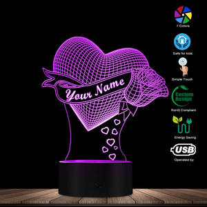 Image 2 - Loving Heart With Rose Personalize Name 3D Effect Optical Illusion Table Lamp Custom Name LED Night Light Valentine Gift For Her