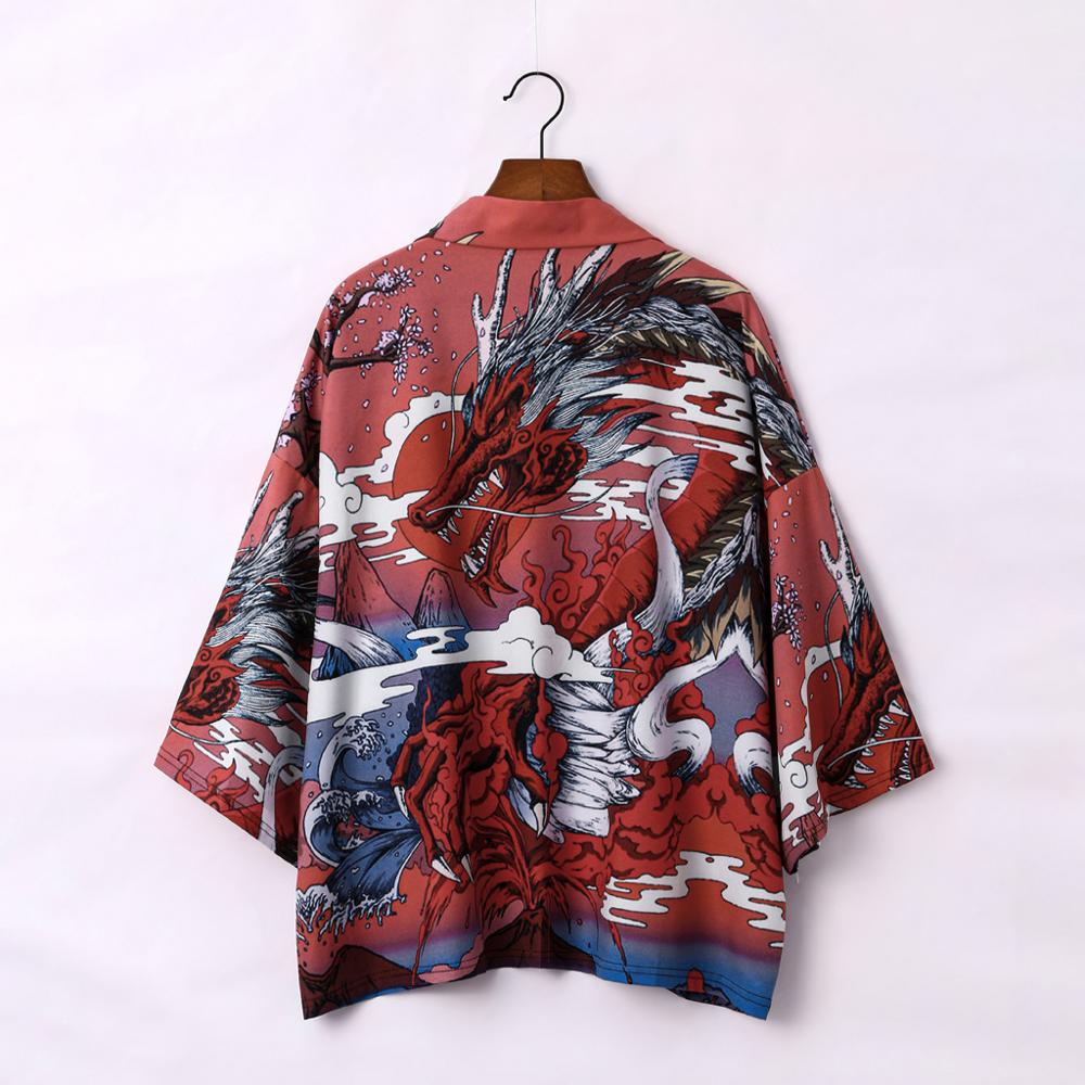 Yukata Haori Japanese Dragon Kimono Cardigan Men Samurai Costume Asian Clothes Kimonos Jacket Mens Shirt Yukata Haori