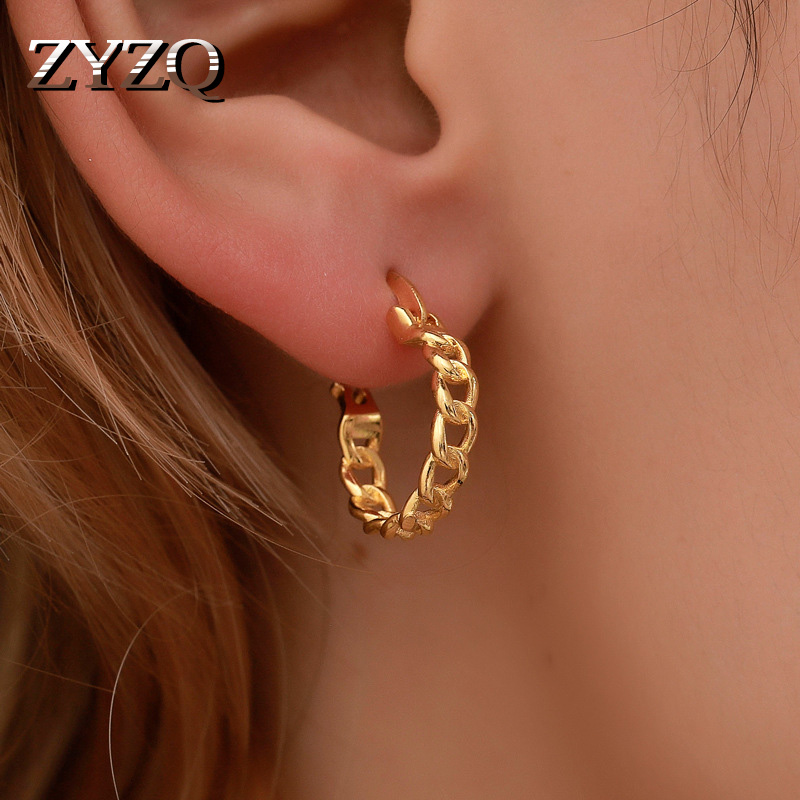ZYZQ Trendy Hoop Earrings For Women With Soft Chain Circle Design Anniversary Present Elegant Accessories For Wife Ear Jewelry