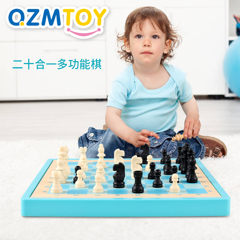 QZM New Style Desktop Twenty One Feature Game Chess Macarons Children Wooden Educational Toys
