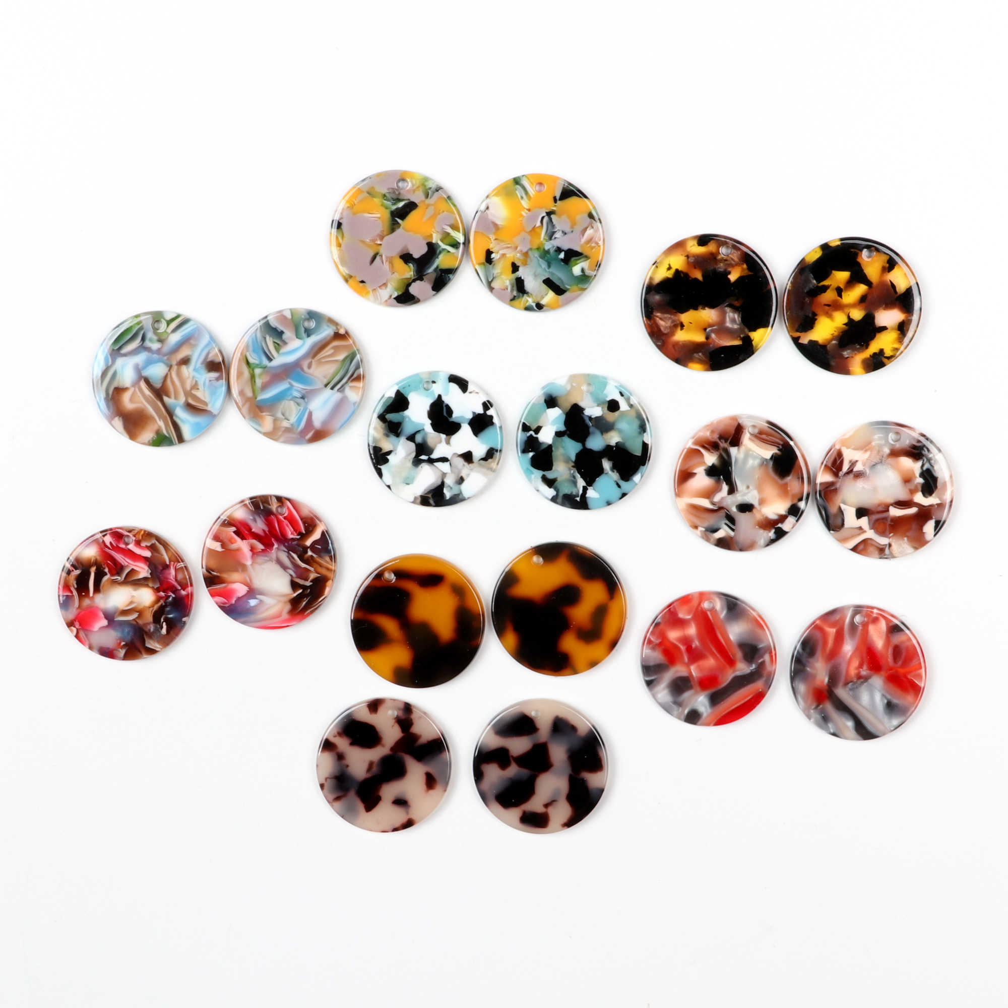 10pcs Tortoise shell acetate acrylic yellow leopard circle charm pendant jewelry earrings findings supplies 65mm 1164A