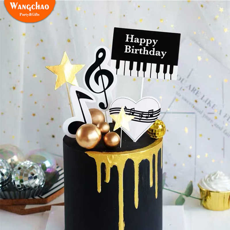 Strange 1Set Creative Piano Music Notes Theme Happy Birthday Cake Topper Funny Birthday Cards Online Inifofree Goldxyz