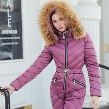 Warm Winter Thick Women Jumpsuit Plush Hoodie Collar Pockets Zipper Solid Color Oversize Casual Rompers Kurtka Zimowa 2020 New Y