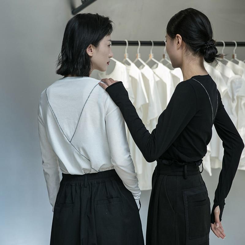 [EAM] Women Black Line Split Joint Temperament T-shirt New Round Neck Long Sleeve  Fashion Tide  Spring Autumn 2020 1DA905 6