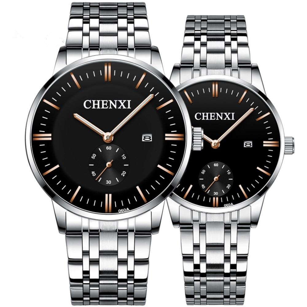 2019 New Couple Watches Stainless Steel Brand Luxury Quartz Watch Men Clock Watches Ladies Calendar Wristwatches Relogios Casal