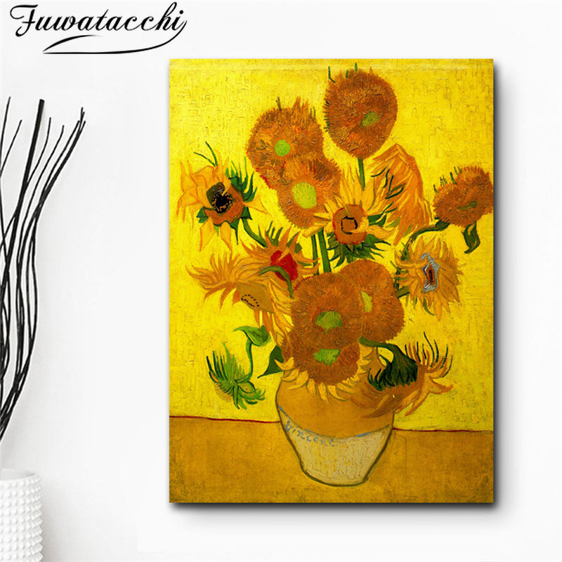Fuwatacchi Classic Sunflowers Abstract Oil Painting on Canvas Printings Poster Modern Art Wall Pictures For Living Room Cuadros