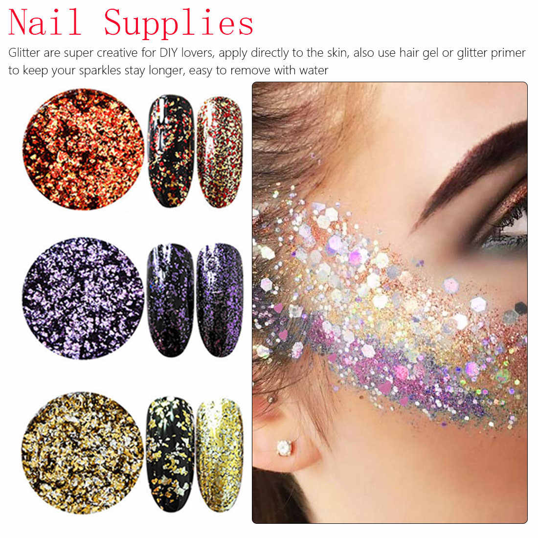 1 caja arte de uñas brillo copos de aluminio efecto espejo polvo de uñas lentejuelas irregulares pigmento cromado decoración de uñas