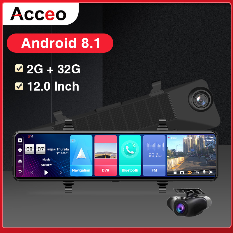 "ACCEO12"" Car DVR Rearview Mirror 4G Android 8.1 Dash Cam GPS Navigation ADAS FHD 1080P Auto Video Recorder Camera WiFi Dashcam 1"