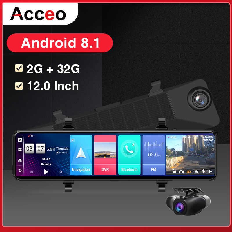 """ACCEO12 """"DVR Xe Ô Tô Gương Chiếu Hậu 4G Android 8.1 Dash Cam Đồng Hồ Định Vị GPS ADAS Siêu Nhỏ FHD 1080P Auto Video đầu Ghi Hình Camera WiFi Dashcam"""