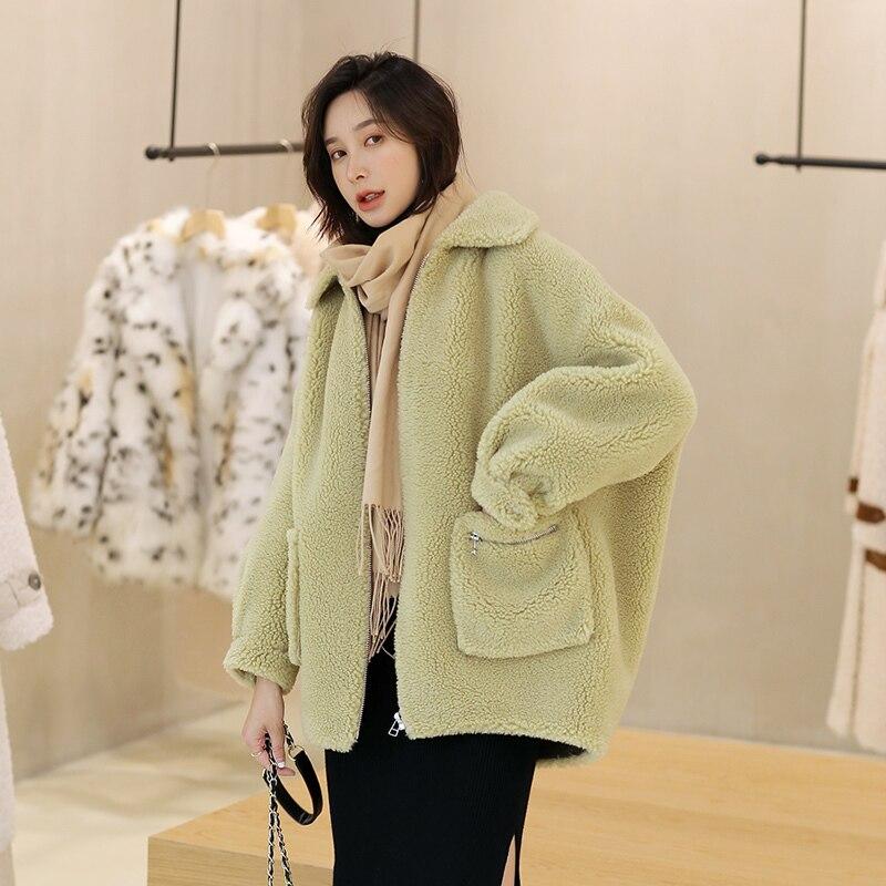 Real Fur Korean Solid Sheep Shearing Winter Coat Wool Jacket Women Clothes 2020 Manteau Femme 19522 YY1163