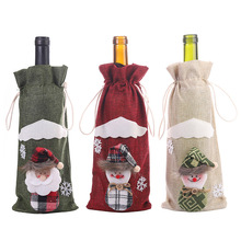 2019 Xmas Christmas Santa Claus Snowman Wine Bottle Cover Gift Bag with Drawstring Linen Craft New Year Party Table Decorations 2018 4pcs set new year snowflake santa claus snowman linen drawstring gift bag christmas decoration dinner table supplies